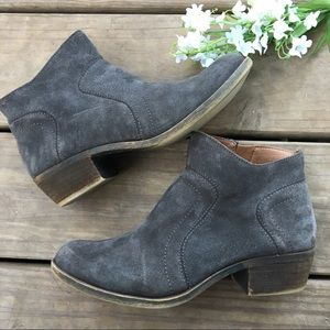 Lucky Brand gray ankle zip up booties. Size 6.5.